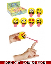 12 x Flying Light Up Emoji Tongue Balls